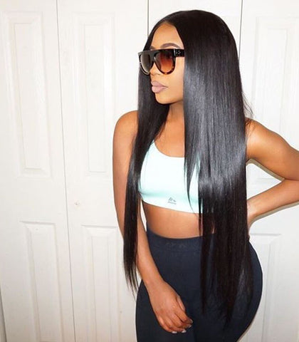 20 inch black straight Brazilian human hair full lace wigs pre-plucked hairline 150% density - Luckin Wigs