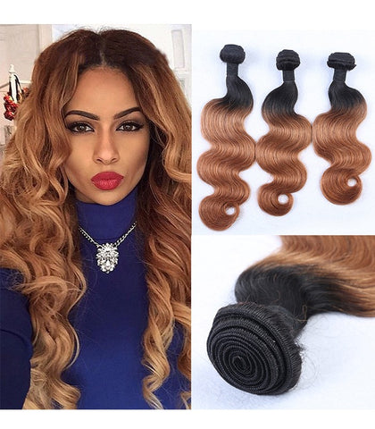 16 inches black ombre brown 100% human hair  bundles - Luckin Wigs