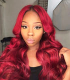 18 inches rose natural body wave HD swiss lace 100% human hair wigs - Luckin Wigs