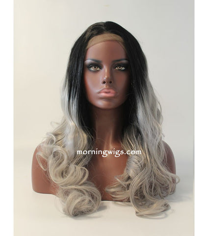 18 inches black ombre gray body wave synthetic lace front wigs for fashion girls - Luckin Wigs