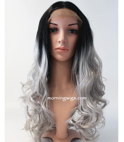 Halloween celebrate happy black ombre gray wave lace front wigs - Luckin Wigs