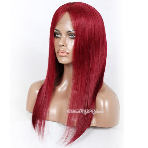 "20"" rose red straight 100% Brazilian human hair wigs for fashion women - Luckin Wigs"