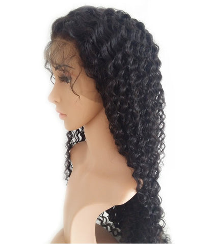 24 inches black 8mm curly human hair 360 lace wigs pre-plucked hairline 150% density - Luckin Wigs