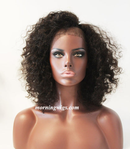 black kinky curly 100% human hair satin lace wigs fashion women - Luckin Wigs