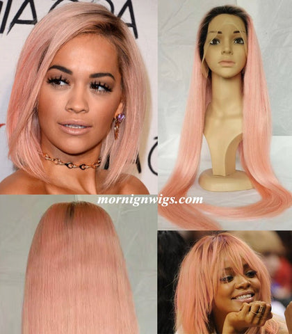 Fashion Hollywood 20 inches natural straight pink human hair lace wig - Luckin Wigs