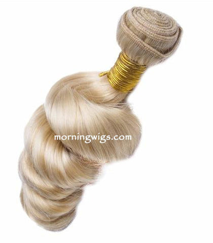 14 inches light blond spiral wave hair bundles - Luckin Wigs