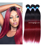 gorgeous 20 inches natural straight black ombre  99J hair extensions - Luckin Wigs
