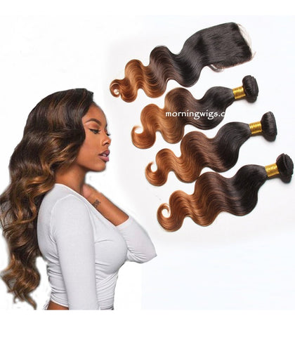 20 inches black ombre brown end body wave virgin human hair bundles - Luckin Wigs