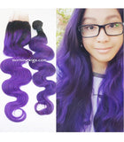 18 inches body wave black ombre purple human hair extensions - Luckin Wigs