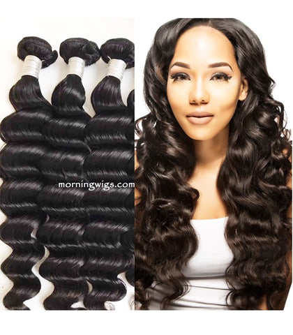 18 inches loose wave black virgin human hair bundles - Luckin Wigs