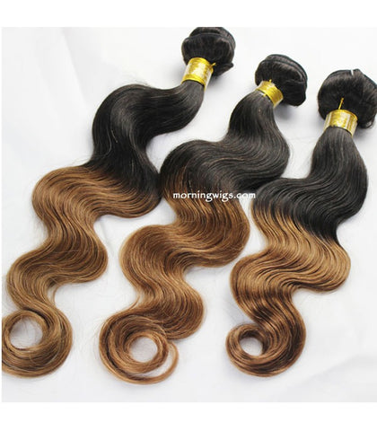 18 inches Brazilian human hair black ombre brown human hair extensions - Luckin Wigs