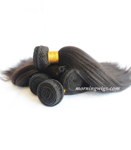 Halloween  black kinky straight 100% virgin human hair bundles for gorgeous women - Luckin Wigs