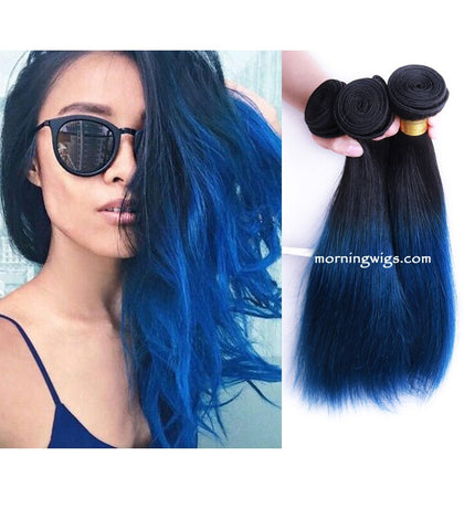 16 inches black ombre blue straiht virgin human hair bundles - Luckin Wigs