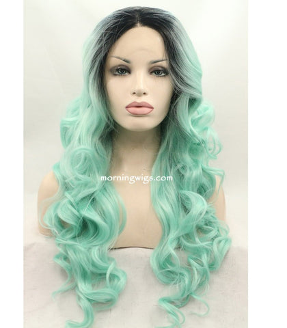 20 inches dark root ombre light green body wave synthetic lace front wigs - Luckin Wigs