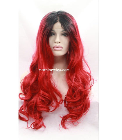 20 inches dark root red body wave synthetic lace front wigs - Luckin Wigs