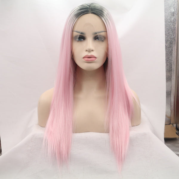 16 inches dark root pink natural straight synthetic lace front wigs - Luckin Wigs
