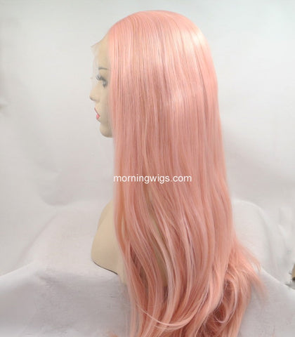 Brisbane 18 inches light pink natural straight synthetic lace front wigs - Luckin Wigs