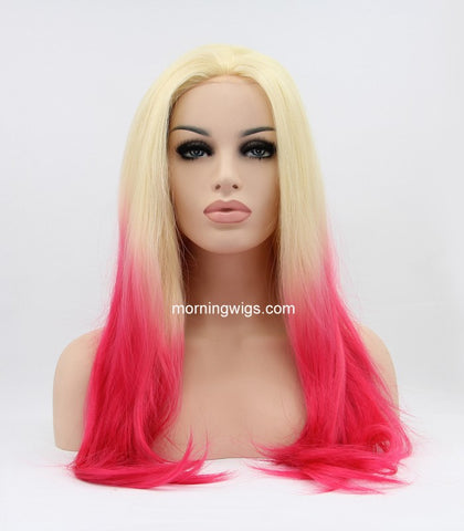 Alice Springs Show Day ombre light red straight synhtetic lace front wigs - Luckin Wigs