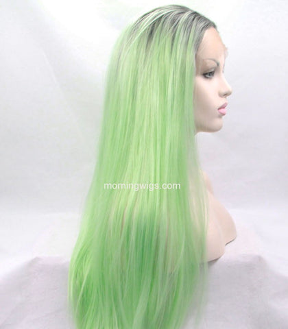 dark root ombre light green synthetic lace front wigs - Luckin Wigs