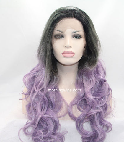 dark root ombre purple synthetic lace front wigs for Melbourne Cup Day - Luckin Wigs