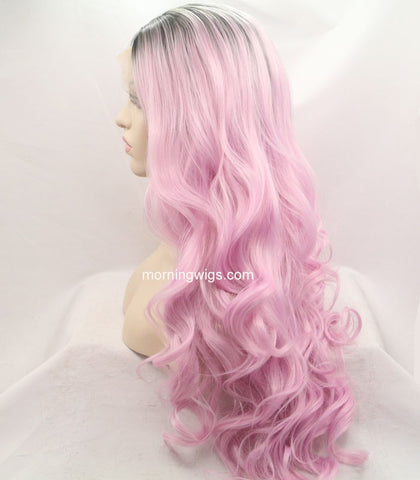 dark root pink body wave synthetic lace front wigs for Sydney to Hobart Yacht Race - Luckin Wigs