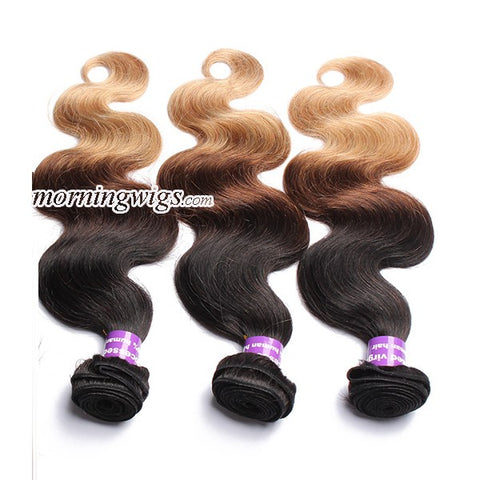 18 inches body wave  1B-4-27 ombre color human hair extensions - Luckin Wigs