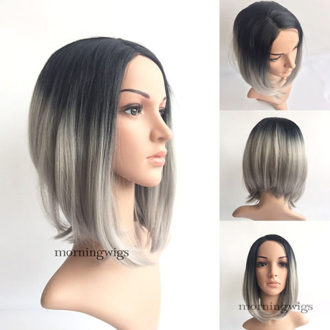 Fashion black ombre gray  synthetic lace front wig - Luckin Wigs