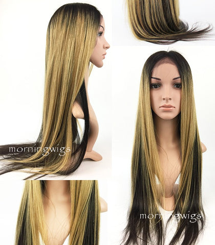 24 INCHES MINK BLOND MIX BLACK STRAIGHT 100% BRAZILIAN HUMAN HAIR HD LACE WIGS - Luckin Wigs