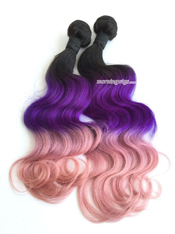 Body wavy style 1B-purple-pink ombre rainbow color human hair bundles - Luckin Wigs