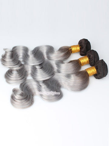 1B Grey ombre 18 inches body wave hair bundles - Luckin Wigs