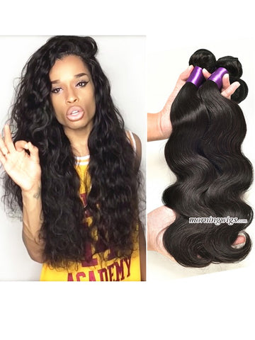 22 inches Body Wave Natural Black Human Hair Bundles - Luckin Wigs