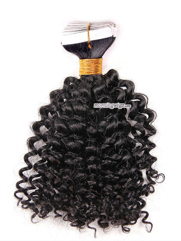 Kinky curly black human hair tapes in hair extensions - Luckin Wigs