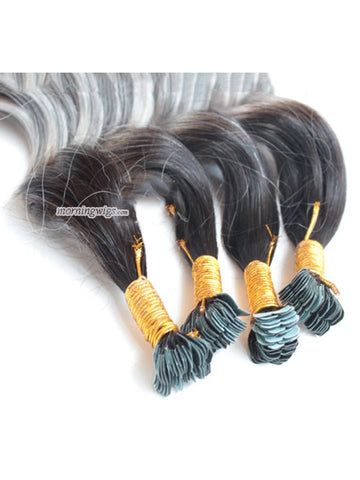 22 inches body wave 1B-Grey ombre color tapes on hair extensions - Luckin Wigs