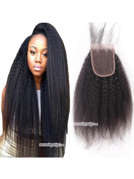 14 inches Kinky Straight 4×4 top closures - Luckin Wigs