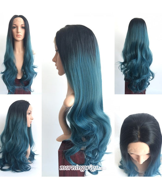 22 inches long body wave dark green fashion synthetic lace front wig - Luckin Wigs