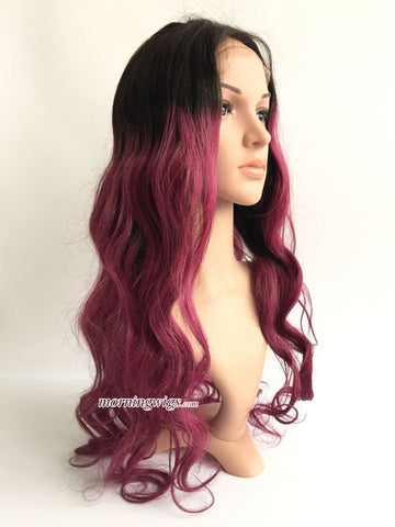Black ombre wine red 22 inches body wave human lace wig - Luckin Wigs