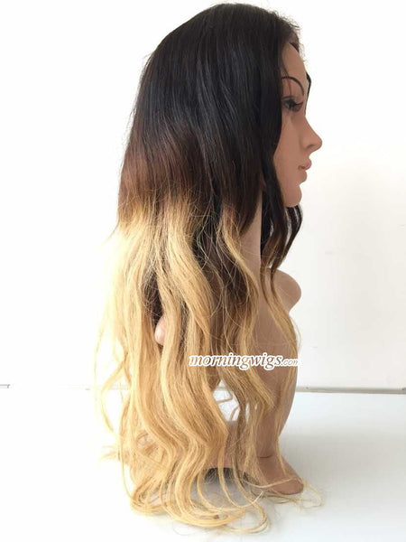 360 Lace Human Hair Wigs 20 inches body wave 1B-4-27 ombre blonde lace wigs - Luckin Wigs