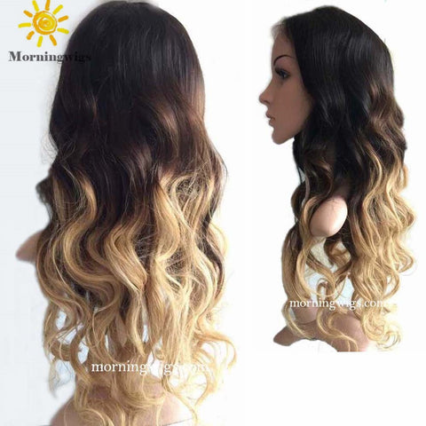 luxury black ombre blonde long body wave human lace wigs - Luckin Wigs
