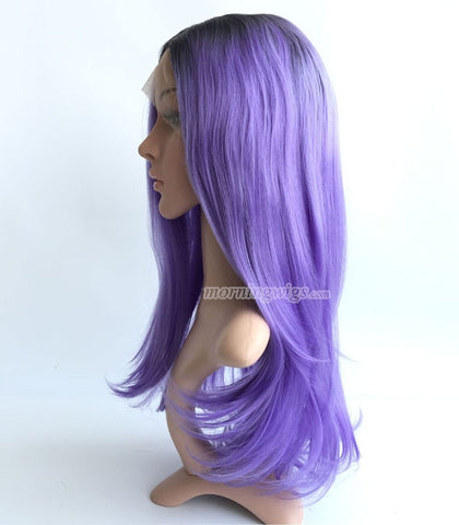 Fashion black purple ombre color synthetic lace front wig - Luckin Wigs