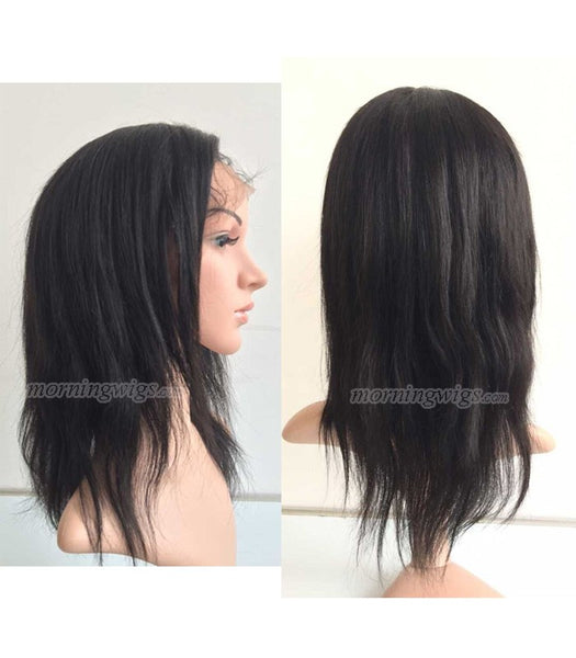 14 inches Natural Black Straight Brazilian Hair lace front wig pre-plucked hairline 150% density - Luckin Wigs