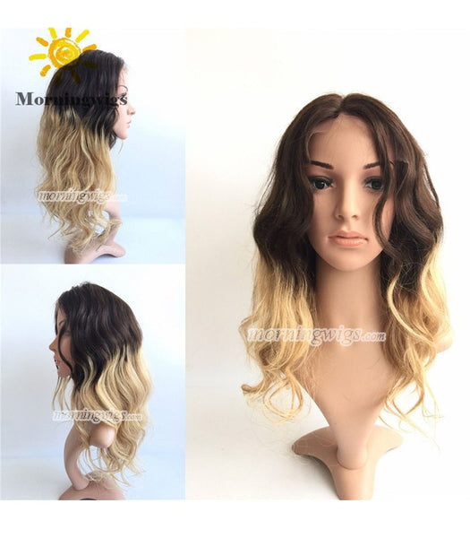 14 inches 1B-4-27 ombre color brazilian Hair lace front wig pre-plucked hairline 150% density - Luckin Wigs