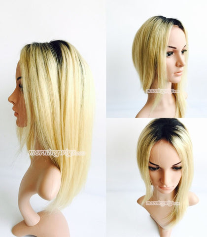 14 inches 1B-613 ombre color straight Brazilian human hair lace front wigs pre-plucked hairline 150% density - Luckin Wigs