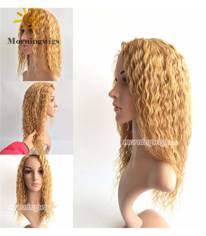 16 inches 6mm curly blonde Brazilian Hair lace front wig - Luckin Wigs