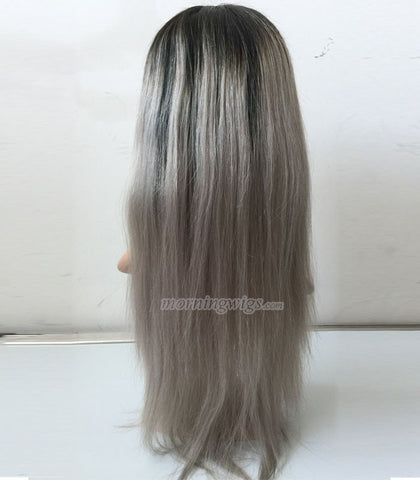 18 inches 1B-Gray ombre color straight Brazilian Hair full lace wig - Luckin Wigs