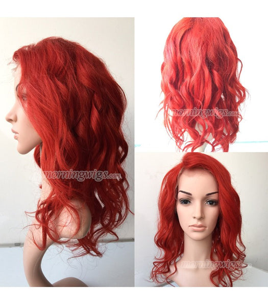 18 inches red loose wave Brazilian Hair full lace wig - Luckin Wigs