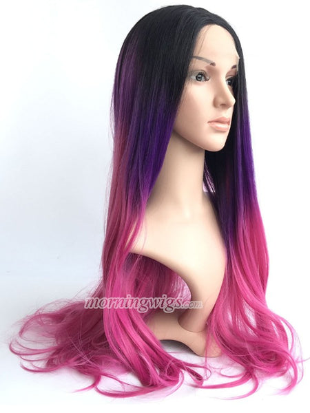 24 inches black rose red ombre color straight synthetic lace front wig - Luckin Wigs