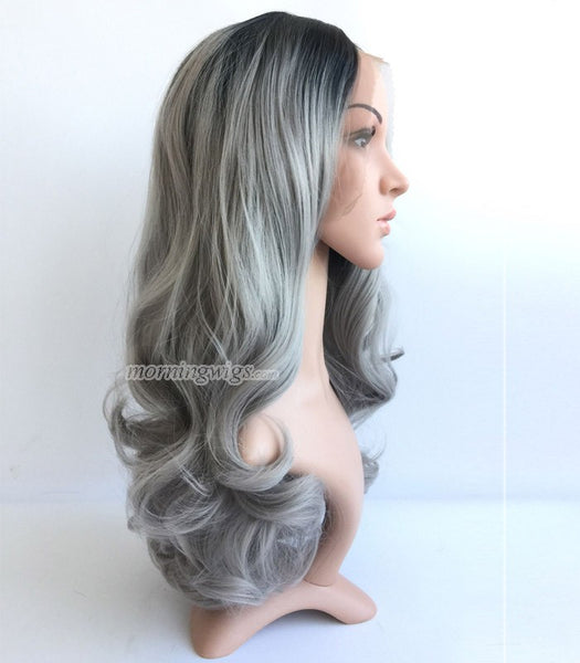 20 inches black ombre gray bodywave synthetic lace front wig - Luckin Wigs