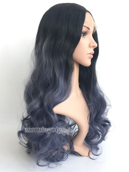 20 inches black ombre dark Gray bodywave synthetic lace front wig - Luckin Wigs