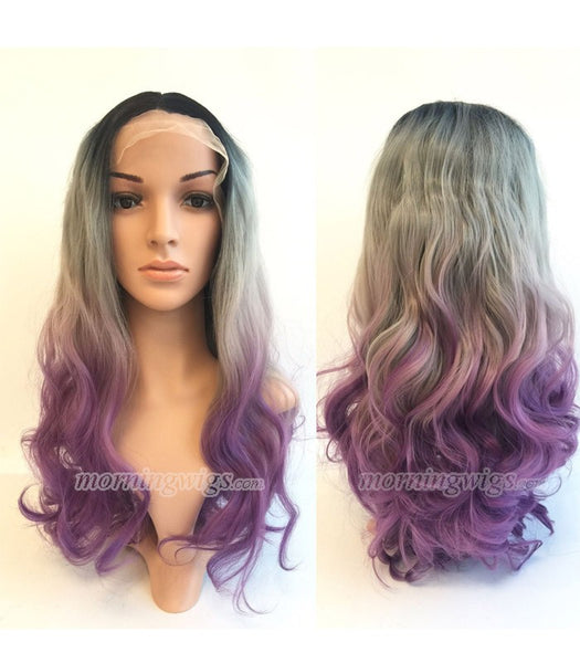 22 inches black-gray-light purple ombre bodywave synthetic lace front wig - Luckin Wigs
