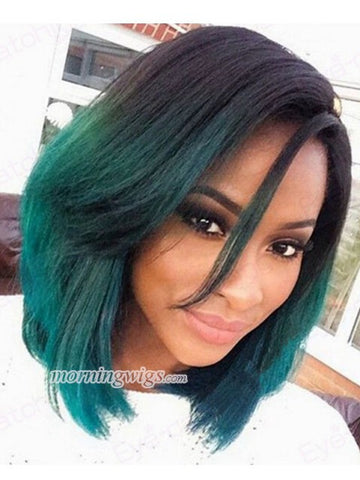 Black ombre green Synthetic Lace Front Wigs - Luckin Wigs